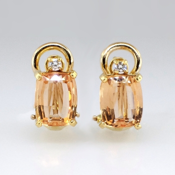 Lovely Estate 5 08ct T W Peach Imperial Topaz Diamond Euro Back Earrings 18k