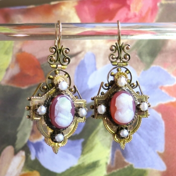 Antique Cameo Earrings Victorian Circa 1890 S Carnelian Pearl Drop Chandelier 14k Gold