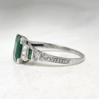 Antique Edwardian 1920 S 1 78ct T W Emerald Amp Old