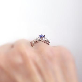 Vintage Sapphire Diamond Ring Circa 1940s Blue Sapphire Cocktail Anniversary Ring Band 14k