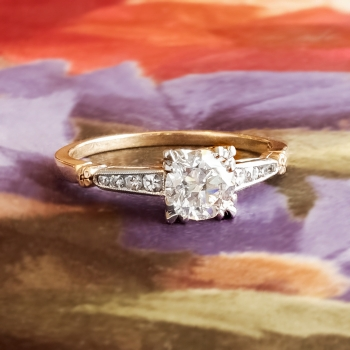 Vintage Diamond Engagement Ring Circa 1950s Retro Old Transitional Cut Two Tone Wedding 14k Gold Platinum