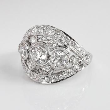 Art Deco Vintage 1930 S Old European Cut Diamond Filigree
