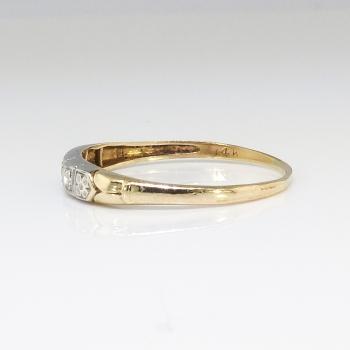 Art Deco Vintage 1930 S Two Tone Diamond Wedding Band 14k Yellow White Gold