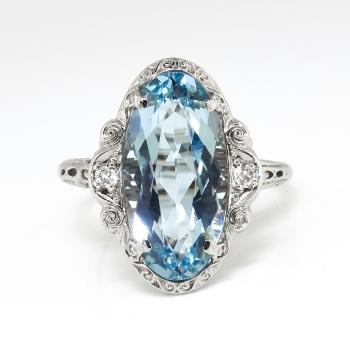 Art Deco Vintage 1930 S Oval Aquamarine Diamond