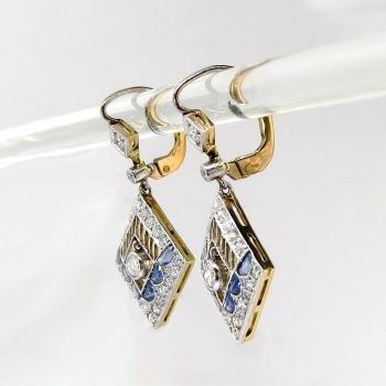 Antique Edwardian Blue Sapphire Diamond Chandelier Drop Earrings ...