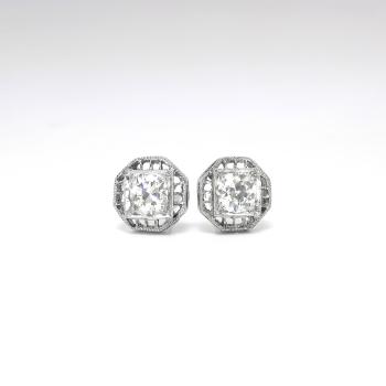 Art Deco 1930 S Vintage Filigree Old European Cut Diamond Stud Earrings Platinum 14k White Gold