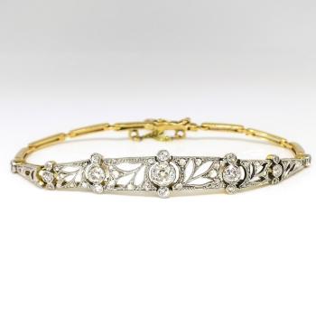 Antique Art Nouveau 1910 Old European Cut Rose Single Diamond Bracelet Platinum 18k Yellow