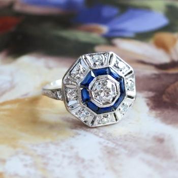 Hexagon Cut Lab Created Ring Blue