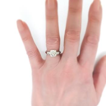 Antique Edwardian Cushion Cut Diamond Engagement Ring