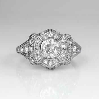 Art Deco Engagement Ring Vintage 1930 S Old European Cut