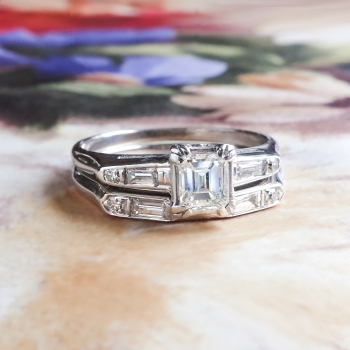 Vintage Estate Retro 1950s Emerald Cut Baguette Single Cut Diamond