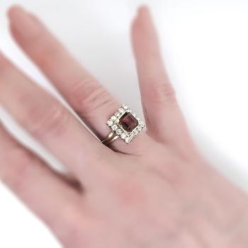 Vintage Emerald Cut Garnet Diamond Halo Engagement Ring
