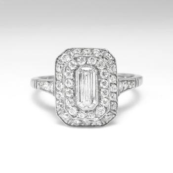 Vintage Emerald Cut Diamond Old European Cut Diamond Halo Filigree Hand Engraving Engagement Anniversary Platinum Ring Antique Vintage Estate