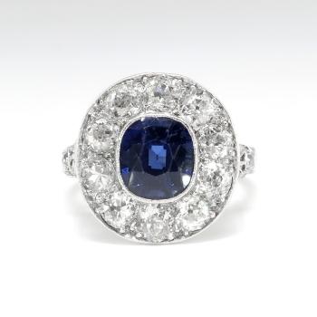 Antique Sapphire Diamond Ring Circa 1915 Filigree Old