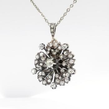 Antique diamond pendant necklace 167ct tw circa 1880s diamond antique diamond pendant necklace 167ct tw circa 1880s diamond flower pendant necklace sterling silver 14k aloadofball Gallery