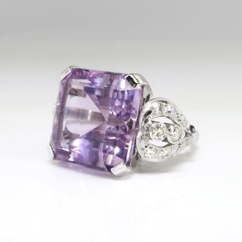 Vintage Amethyst Diamond Ring Circa 1940 S Rose De France