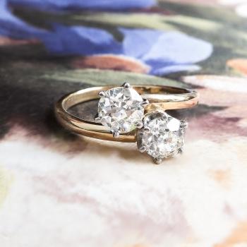 Vintage Toi Et Moi Double Diamond Ring 1ct T W Old European Cut Bypass Enement Anniversary 18k Yellow Gold Platinum