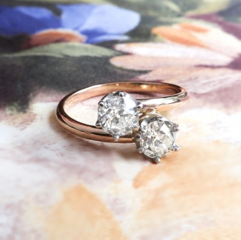 Vintage Toi Et Moi Double Diamond Ring 96ct T W Old European Cut Bypass Enement Anniversary 18k Rose Gold Platinum