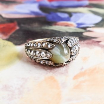 gold cut rings chrysoberyl ring toronto cushion green