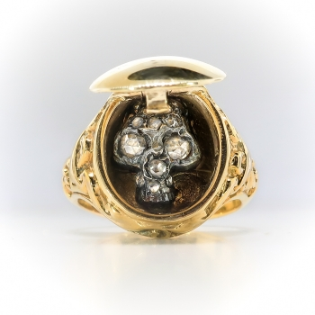 Antique Influenced Memento Mori Poison Rose Cut Diamond