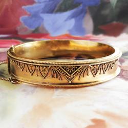 Antique Victorian 1850 S Etruscan Revival Cuff Bracelet