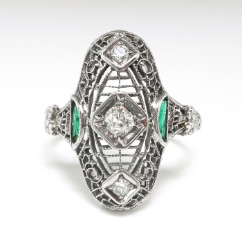 Vintage Art Deco Old Cut Diamond Filigree Amp Emerald Ring
