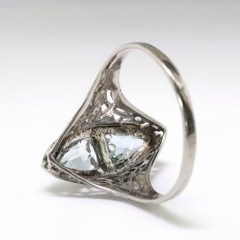 Art Deco 1 55ct T W Aquamarine Diamond Birthstone