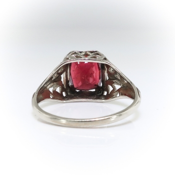 Antique 2 62ct Cushion Cut Garnet Engagement Ring Circa