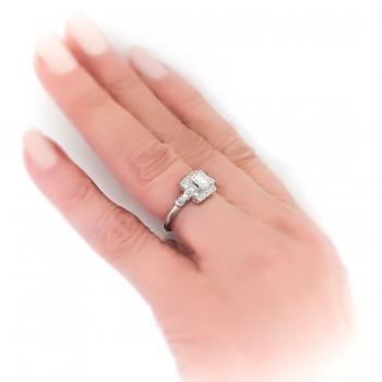 Vintage 1940 S Diamond Halo Engagement Ring 92ct T W