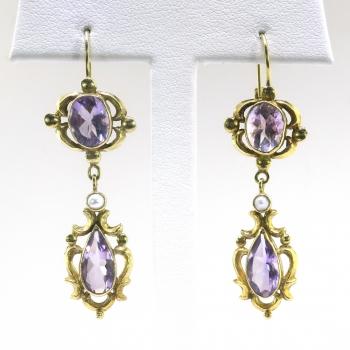 Antique Rose De France Amethyst Pearl Earrings 5 62ct T W