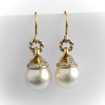 Estate David Yurman South Sea Pearl Diamond Drop Earrings