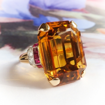 46753ed49a403 Vintage Citrine Ruby Diamond Cocktail Ring Circa 1940's 39.95ct t.w. ...