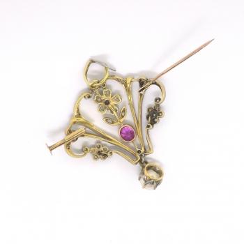 Antique Diamond Pink Sapphire Pearl Brooch Circa 1880 S