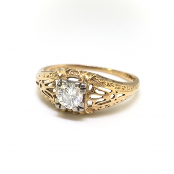 Art Deco Engagement Ring Vintage 1930 S 25ct Filigree