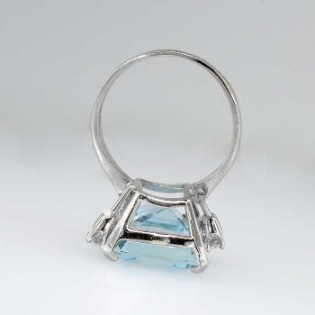 Superb 1980s Huge Aquamarine Amp Diamond Ring 14k Antique