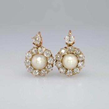 Beautiful Victorian Old Mine Cut Diamond Pearl Earrings 14k