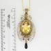 Circa 1875 Rose Cut Diamond, Onyx & Citrine Filigree Pendant Locket Necklace w/ Chain 15k/18k