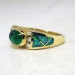 Estate Kabana Cabochon Emerald, Diamond & Opal Inlay 18k Ring