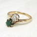 Antique Victorian 1890's .87ct t.w. Old Mine Cut Diamond & Natural Green Turquoise Bypass Rose Gold Ring 14k