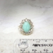 Vintage Art Deco 1930's 4.89ct t.w. Turquoise & Old European Cut Diamond Cocktail Ring 14k