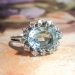 Glowing 1970's 3.36ct t.w. Aquamarine & Diamond Halo Cocktail Engagement Ring 18k