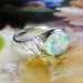 Gorgeous 3ct t.w. 1930's Opal & Diamond Filigree Platinum Ring