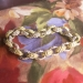 Gorgeous Rare 1950's .10ct t.w. Diamond Two Tone Solid Floral Chased Repousse' Bracelet 14k 6.75 Inch Wrist