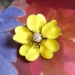 Antique Art Nouveau 1900's Old European Cut Diamond Enamel Buttercup 18k Pin Brooch