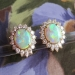 Phenomenal Estate 4.50ct t.w. Mystical Opal & Diamond Omega Back Earrings 18k