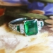 Antique Edwardian 1920's 1.78ct t.w. Emerald & Old European Cut Diamond Hand Engraved Platinum Ring