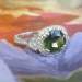 Estate Vintage 2.88ct t.w. Cushion Green Sapphire & Shield Cut Diamond Pave Three Stone Engagement Anniversary Ring Platinum