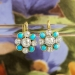 Antique Victorian 1860's 1.16ct t.w. Natural Turquoise & Old Mine Cut Diamond Earrings Platinum 18k