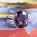 Vintage 1970's H.Stern 8.49ct t.w. Amethyst & Baguette Diamond Cocktail Anniversary Birthstone Ring 18k
