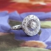 Vintage Art Deco 1930's .55ct t.w. Old European Cut Diamond Halo Filigree Platinum Engagement Anniversary Ring